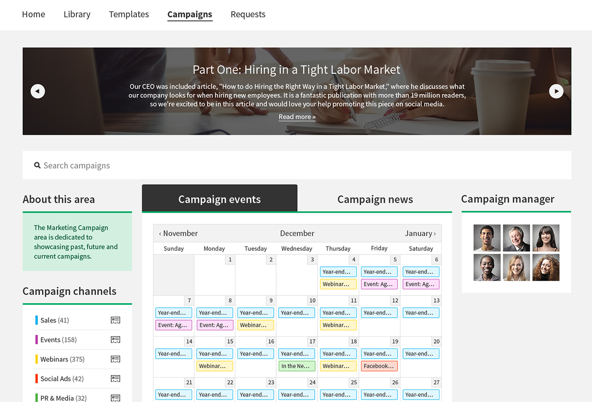 Screenshot: Campaign Calendar
