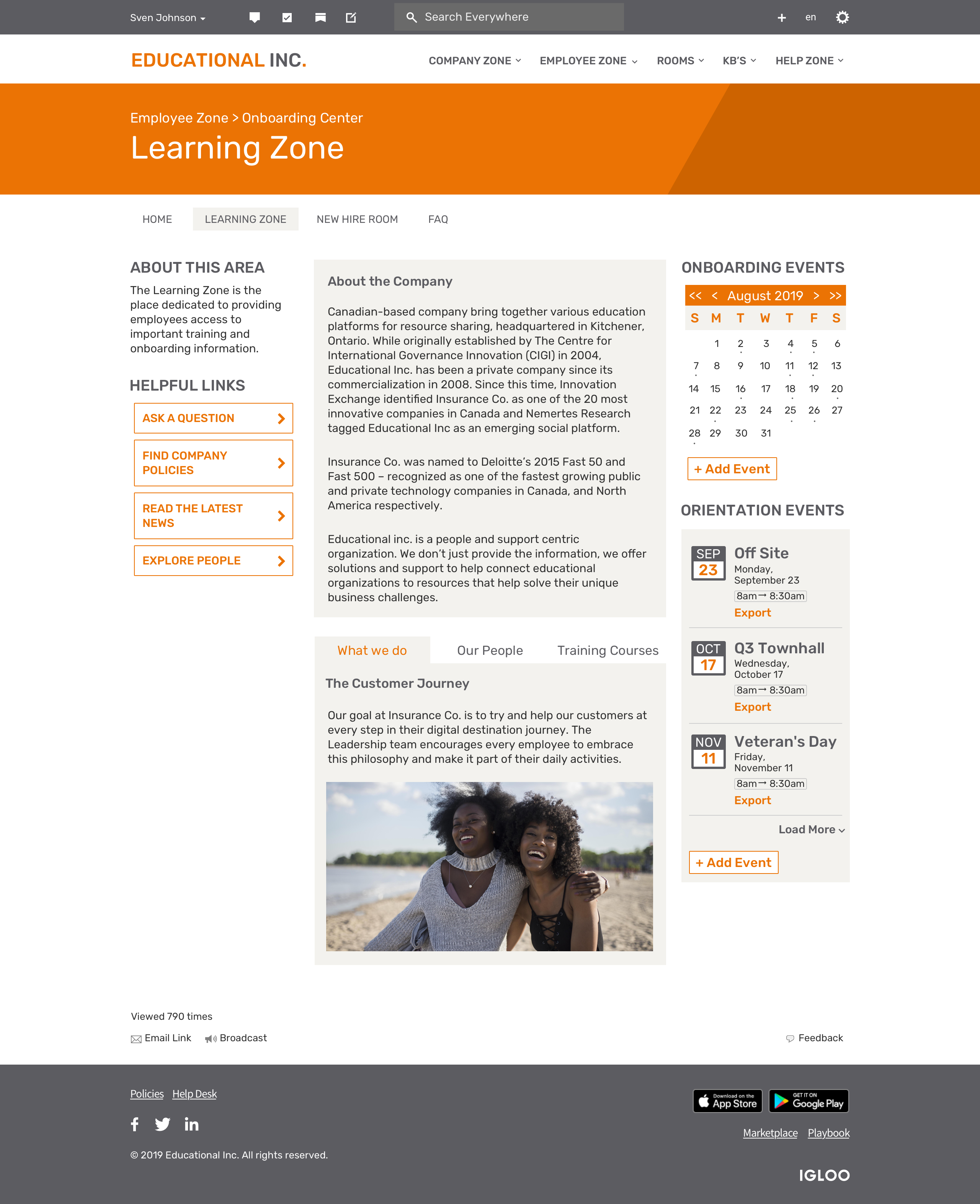 Onboarding Center Learning Zone