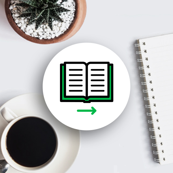 Igloo digital workplace playbook icon with a coffee cup, cactus/succulent, and a white note book