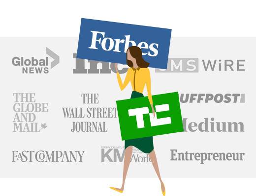 illustrated woman with media & news logos