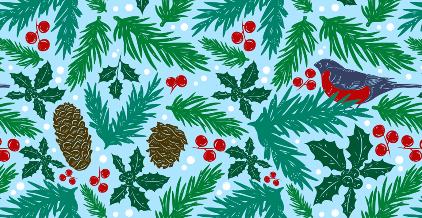 illustration of pine needles, pine cones, a bird, and snow